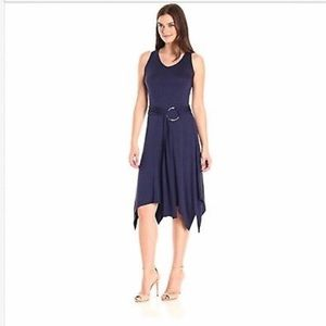 Large Evening Blue Sleeveless Belted Knit Dress